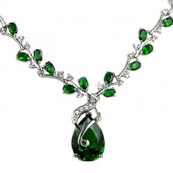 Emerald Green Elegant Teardrop Oval Rhinestone Clear Diamante Drop Necklace