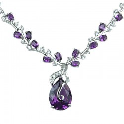Purple Elegant Teardrop Rhinestone Clear Diamante Drop Necklace