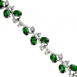 Women's Gifts, Costume Bridal Jewelry UK, Fashion Wedding Jewellery Bracelets, Emerald Green Diamante Tennis Bracelet