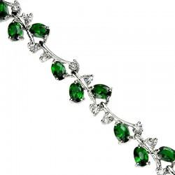 Women's Gifts, Costume Bridal Jewelry UK, Fashion Wedding Jewellery Bracelets, Emerald Green Diamante Tennis Bracelet