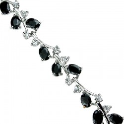 Fashion Wedding Jewellery, Women Costume Jewelry UK, Wedding Gifts, Black Oval Diamante Tennis Bracelet