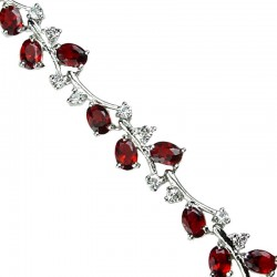 Bridal Costume Jewellery, Women Wedding Gifts, Red Fashion Jewelry UK, Red Dressy Bracelets, Red Diamante Tennis Brace