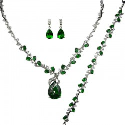 Emerald Green Elegant Rhinestone Clear Diamante Dressy Jewellery Necklace Bracelet Earrings Set