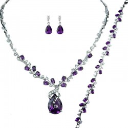 Purple Elegant Rhinestone Clear Diamante Dressy Jewellery Necklace Bracelet Earrings Set