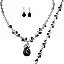 Black Elegant Rhinestone Clear Diamante Dressy Jewellery Necklace Bracelet Earrings Set