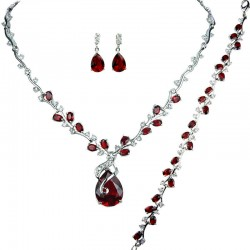Red Elegant Rhinestone Clear Diamante Dressy Jewellery Necklace Bracelet Earrings Set