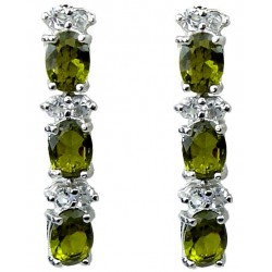 Olive Green Oval Rhinestone Clear Diamante Drop Earrings