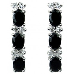 Black Oval Rhinestone Clear Diamante Drop Earrings