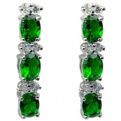 Emerald Green Oval Rhinestone Clear Diamante Drop Earrings