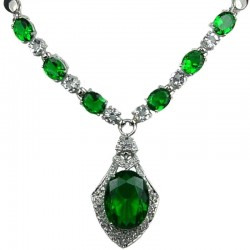 Emerald Green Oval Rhinestone Clear Diamante Rhombus Drop Necklace