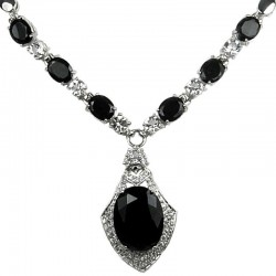 Black Oval Rhinestone Clear Diamante Rhombus Drop Necklace