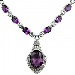 Purple Oval Rhinestone Diamante Rhombus Drop Necklace
