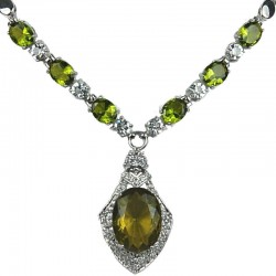 Olive Green Oval Rhinestone Clear Diamante Rhombus Drop Necklace