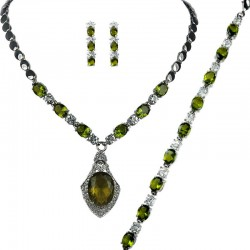 Olive Green Oval Rhinestone Clear Diamante Dress Jewellery Necklace Bracelet Earrings Set
