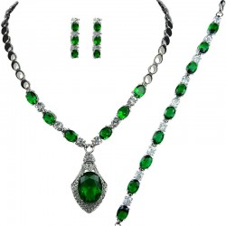 Emerald Green Oval Rhinestone Clear Diamante Dress Jewellery Necklace Bracelet Earrings Set
