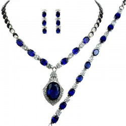 Royal Blue Oval Diamante Necklace Bracelet Earrings Sets, Bridal fashion Dress Jewellery Set, Blue Costume Jewelry Sets UK