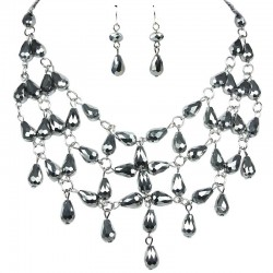 Beaded Costume Jewellery Set, Fashion Jewellery Sets, Silver Teardrop Glass Bead Bib Statement Necklace Earrings Set