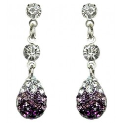 Purple Diamante Pave Teardrop Short Drop Earrings