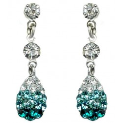 Blue Diamante Pave Teardrop Short Drop Earrings