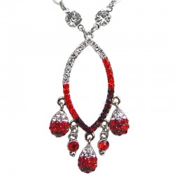 Costume Jewellery Necklaces, Wedding Gifts, Fashion Jewelry UK, Red Diamante Teardrop Dangle Necklace, Dressy Jewellery