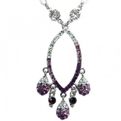 Purple Diamante Open Teardrop Dangle Necklace