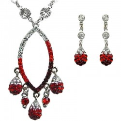Red Diamante Teardrop Necklace Earrings Dressy Jewellery Set