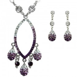 Dressy Fashion Jewellery, Costume Jewelry Set UK, Wedding Dress Accessories, Purple Diamante Teardrop Necklace Earrings Sets