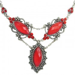 Red Marquise Teardrop Rhinestone Diamante Dressy Costume Necklace