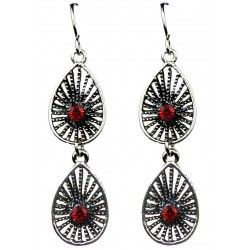 Red Diamante Double Teardrop Dangle Earrings