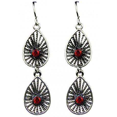 Chic Fashion Jewellery Earrings, Red costume Jewelry UK, Women Girls Gifts, Red Diamante double Teardrop Linear Drop Earrings