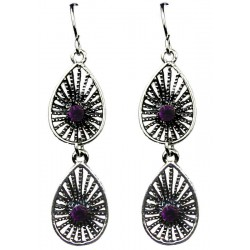 Purple Diamante Double Teardrop Dangle Earrings
