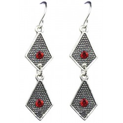 Red Diamante Double Kite Shaped Short Linear Drop Earrings