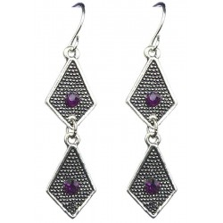 Purple Diamante Double Kite Shaped Short Linear Drop Earrings