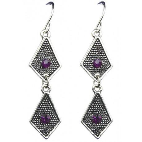Buy Fashion Jewelry Accessory UK, Costume Jewellery Earrings, Purple Diamante Double Kite Earrings, Linear Drop Costume Earrings