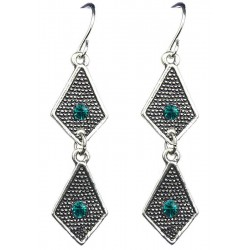 Aqua Blue Diamante Double Kite Shaped Short Linear Drop Earrings