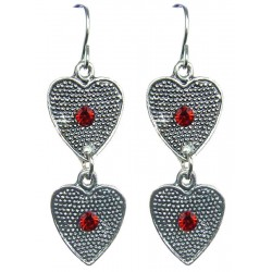 Red Diamante Double Heart Linear Drop Earrings