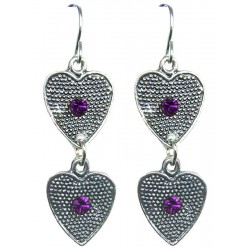 Purple Diamante Double Heart Linear Drop Earrings