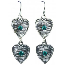 Aqua Blue Diamante Double Heart Linear Drop Earrings