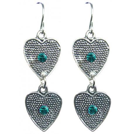 Costume Jewellery Accessories, Aqua Blue Diamante Earrings, Heart Linear Drop Earrings, Fashion Jewelry Earrings UK, Gifts