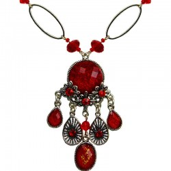 Red Diamante Teardrop Rhinestone Floral Chandelier Fashion Necklace