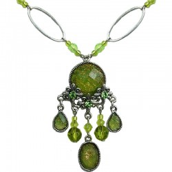 Lime Green Diamante Teardrop Rhinestone Floral Chandelier Fashion Necklace