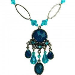 Blue Diamante Teardrop Rhinestone Floral Chandelier Fashion Necklace