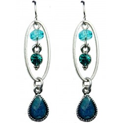 Blue Rhinestone Teardrop Diamante Dainty Drop Earrings