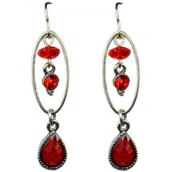 Red Rhinestone Teardrop Diamante Dainty Drop Earrings