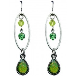 Lime Green Rhinestone Teardrop Dainty Drop Earrings