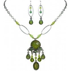 Green Fashion Jewellery Sets, Green Diamante Jewellery Accessories, Floral Necklace Earrings Sets, Costume Jewelry UK