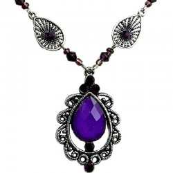 Purple Diamante Rhinestone Vintage Teardrop Necklace