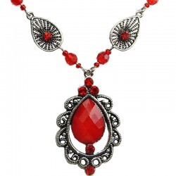 Red Diamante Rhinestone Vintage Teardrop Necklace