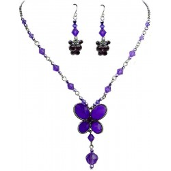 Purple Butterfly Necklace Earrings Sets, Costume Jewellery Sets, Fashion Jewelry Set UK, Girls Gifts, Jewelry Accessories