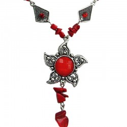 Costume Jewellery Necklaces, Red Fashion Jewelry Necklace UK, Necklace Under £5, Cheap Jewellery, Red Natural Stone Necklaces